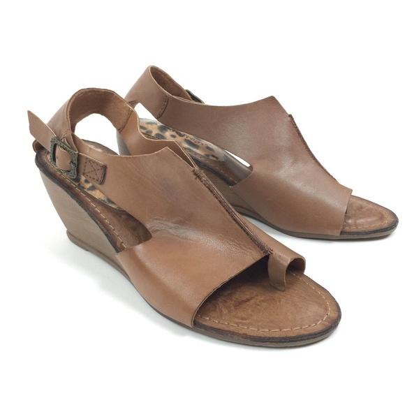 c9dc3aba74 BareTraps Shoes   Bare Traps Brown Leather Wedge Sandals   Poshmark